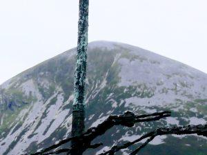 Coffin ship mast against Croagh Patrick